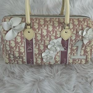 DIOR PINK GIRLY BUTTERFLY BOSTON BAG